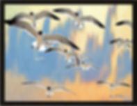 Gulls flying over beach artwork coastal art by Elisa Baker