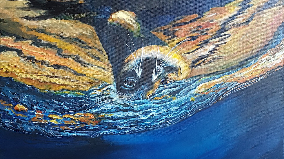 "Golden Seal Acrylic on Canvas 20"" x 20"""