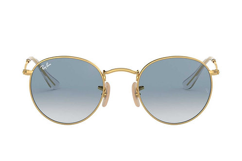 RAY-BAN ROUND METAL RB3447N 001/3F, Or, Bleu clair Dégradé