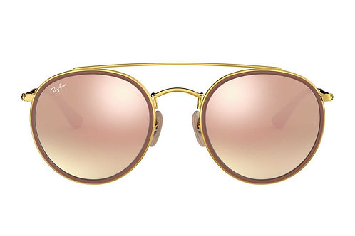 RAY-BAN DOUBLE ROUND BRIDGE RB3647N 001/70, Or, Cuivre Gradient Flash