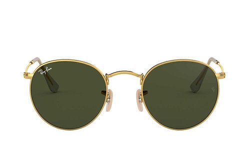 RAY-BAN ROUND METAL RB3447 001, Or, Vert Classique G-15
