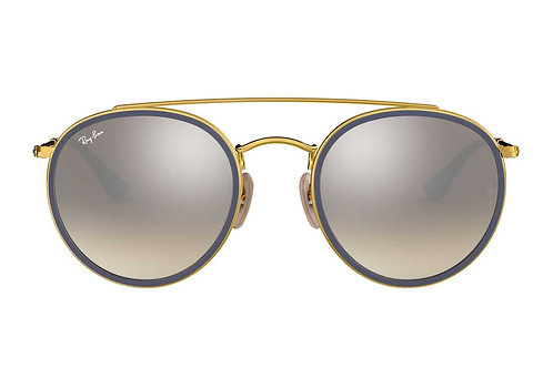RAY-BAN ROUND DOUBLE BRIDGE RB3647N 001/9U, Or, Argent Gradient Flash
