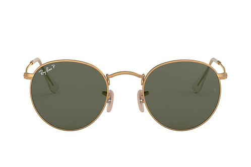 RAY-BAN ROUND METAL RB3447 112/58, Or, Vert Classique G-15