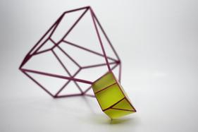 Split (Green-Pink), 2018. Coldworked glass, metal, paint. Photo: Brenton McGeachie.