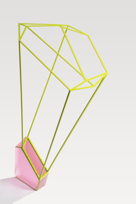 Perceptual Reversal (pink green), 2019. Cast and coldworked glass, metal and paint. 1340 h x 1000 w x 570mm d. Photo: Brenton McGeachie