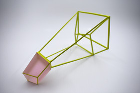 Split (Pink-Green), 2018. Coldworked glass, metal, paint. Photo: Brenton McGeachie.