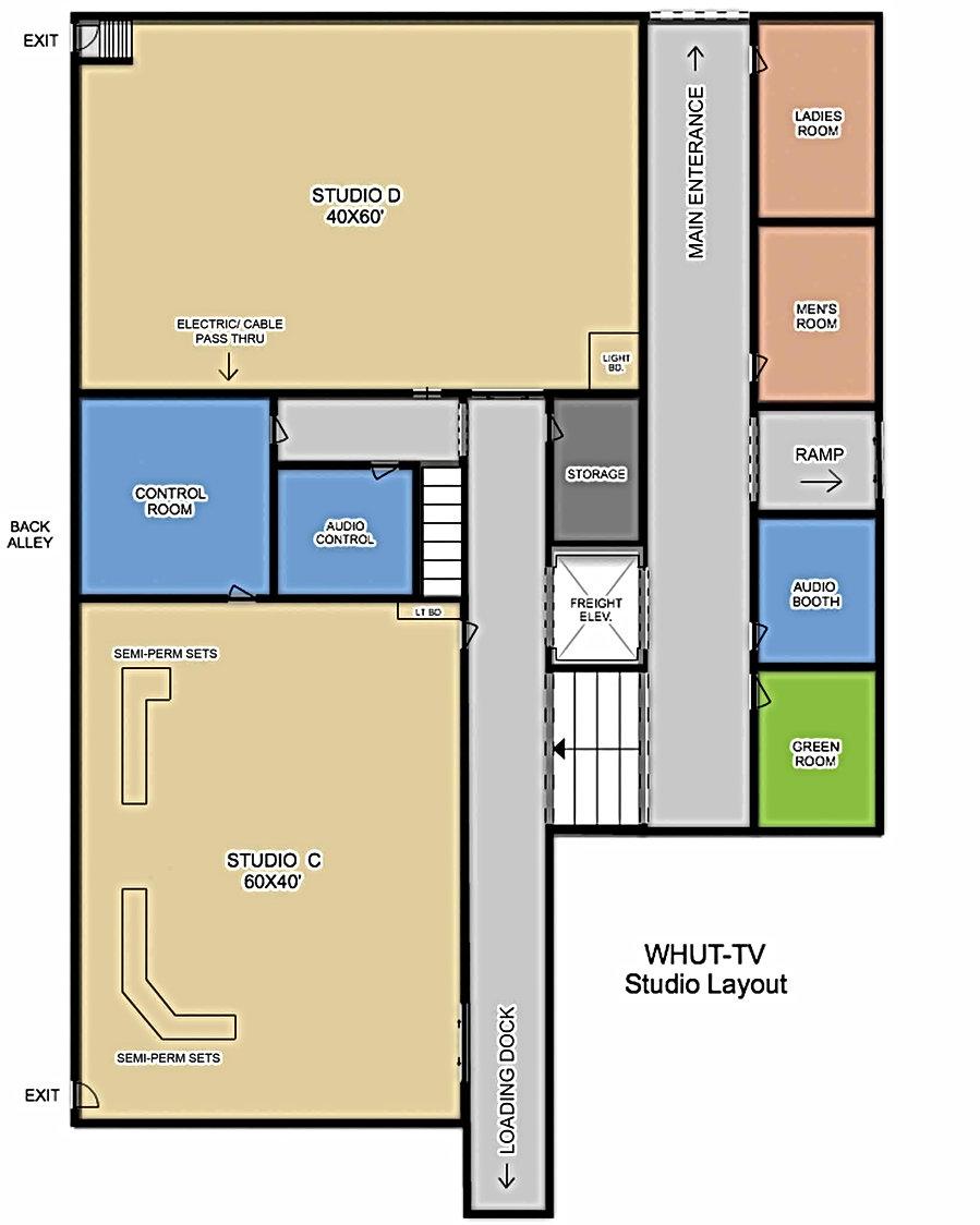 WHUT Detailed aerial Studio floor plan.