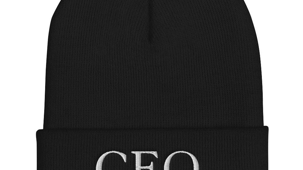 "Cuffed Beanie ""CEO of being dramatic"" Eliana's handwriting"