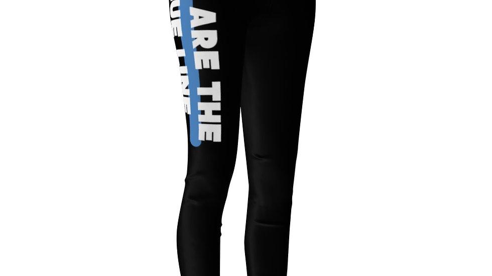 YOU ARE THE BLUE LINE- Women's Casual Leggings (BLUE STRIPE DOWN LEFT LEG)