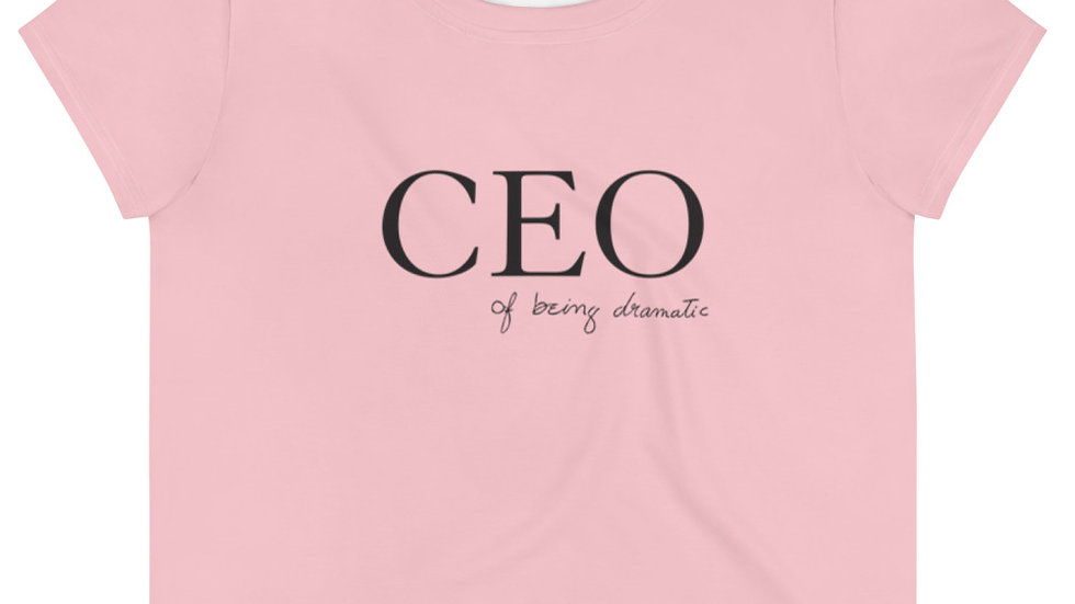"""Crop top (pink) """"CEO of being dramatic"""" Eliana's handwriting"""