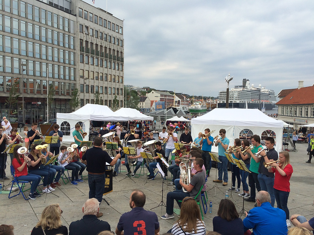 The Youth Band performing on Stavanger quayside