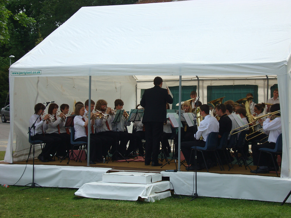 Beaumaris Youth Band on the bandstand in Newtown