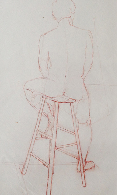 Man on a stool