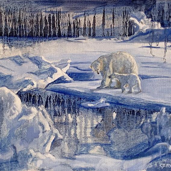 Mother Polar Bear with Cub