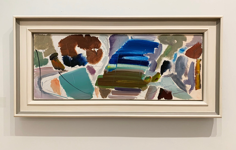 Ivon Hitchens oil painting on canvas The View From My Roof no.2  1977. Creating space with colour