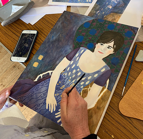self-portrait Klimt oil painting classes