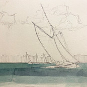 Drawing made on site from the day's photographs taken at sea