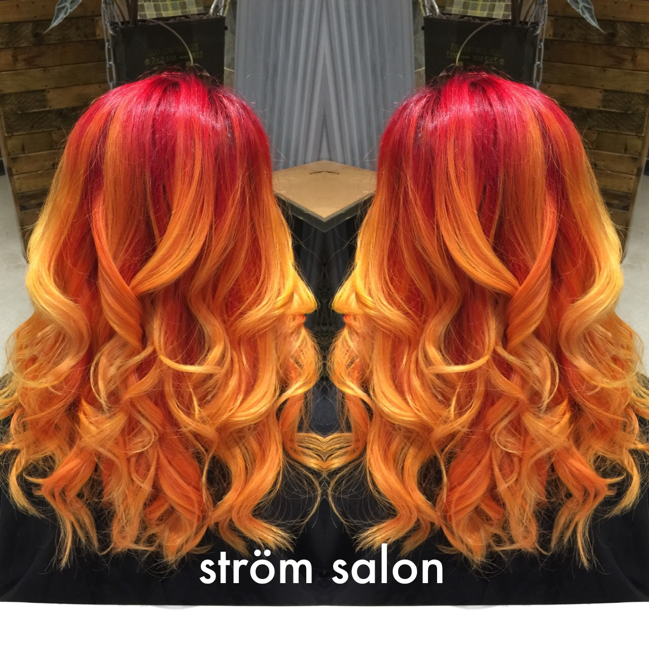 flame ombre mirror