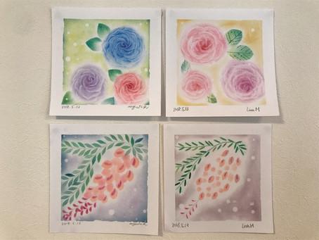 パステル和みアート教室 薔薇と藤の花