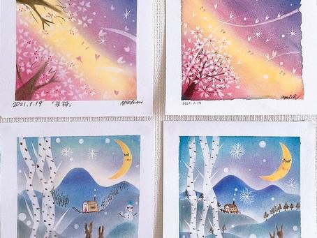 桜と雪景色をパステル和みアートで💕お教室開催しました💕