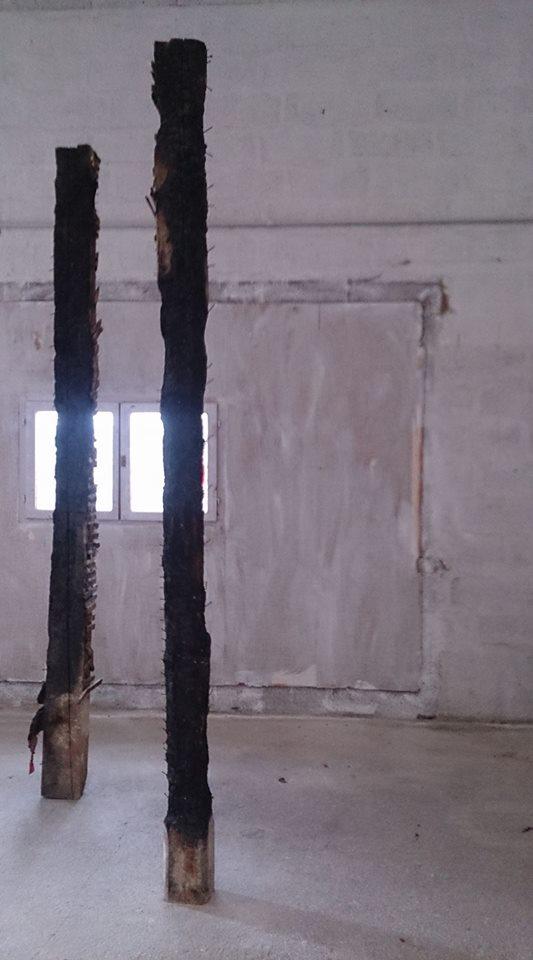 Totems (poutres brulées, h : 250 diamètre : 35)