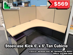 Steelcase Kick 6' x 6' Tan Cubicle