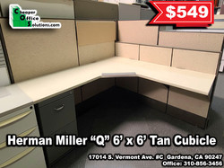 "Herman Miller ""Q"" 6' x 6' Tan Cubicle"