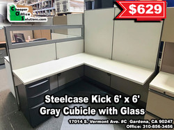 Steelcase Kick 6' x 6' Gray Cubicle with