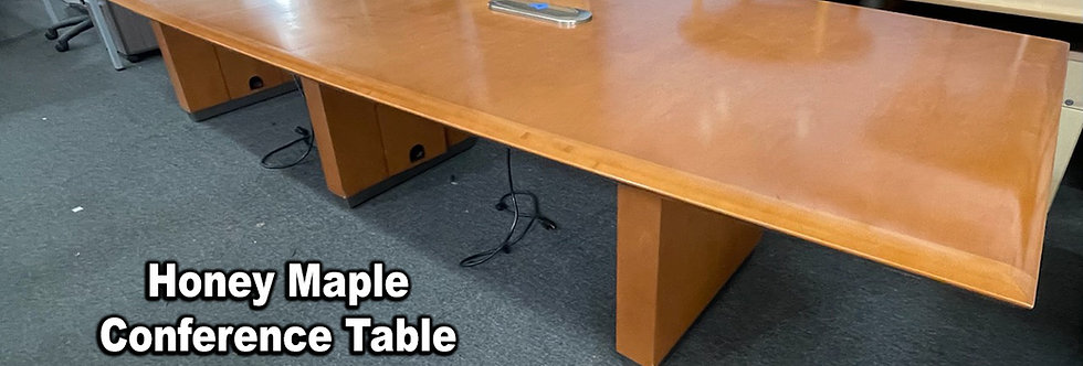 Honey Maple 12' x 4' Conference Table with Power