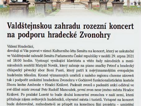 Osobní pozvání senátora Jana Holáska do Valdštějnských zahrad