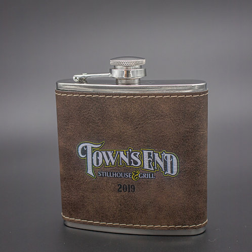 6oz Rustic Brown Leatherette Stainless Steel Flask