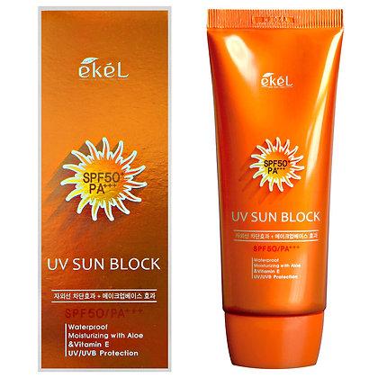 Солнцезащитный крем с экстрактом алоэ и витамином Е SPF50 PA+++ EKEL UV Sun Block SPF50/PA+++