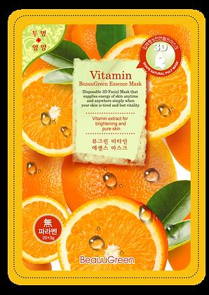 Тканевая 3D маска для лица Витаминная- BEAUUGREEN3D Vitamin Essence Mask