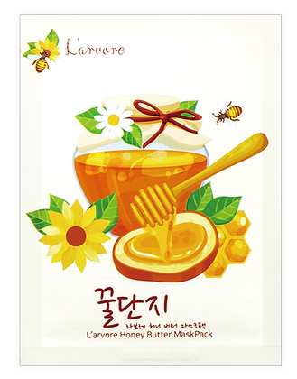 Тканевая маска для лица с экстрактом мёда и пептидами - L'arvore Honey Butter Maskpack