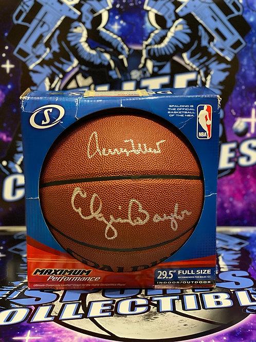 Jerry West & Elgin Baylor Signed Spalding Basketball (PSA/DNA)