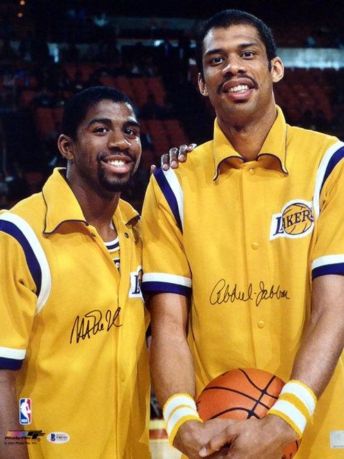 Magic Johnson & Kareem Abdul-Jabbar Dual Signed 16x20 Photo (Beckett Auth)