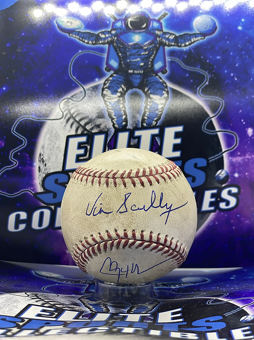 Vin Scully & Clayton Kershaw Dual Signed Game Used Ball (MLB & PSA/DNA)