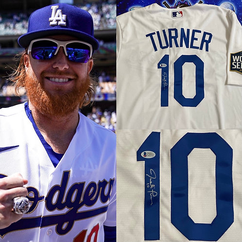 Justin Turner Signed Authentic Majestic Jersey (Beckett)