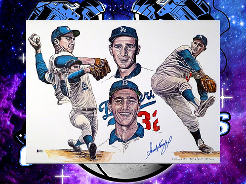 Sandy Koufax Signed 18x24 Lithograph #'d to 1,000! (Beckett Full LOA)