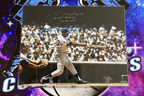 """Maury Wills Signed 16x20 """"3x WS Champs '59, '63, '65"""""""