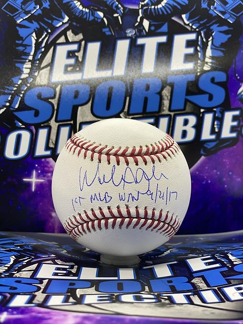 """Walker Buehler """"1st MLB WIN 9/21/17"""" (Buehler Hologram)"""
