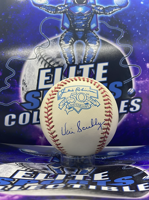 """Vin Scully Signed """"Jackie Robinson 50th Aniv."""" Ball (PSA/DNA Authenticated)"""