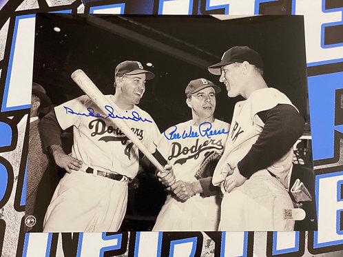Duke Snider & Pee Wee Reese Signed 8x10 Photo (AIV Authenticated)