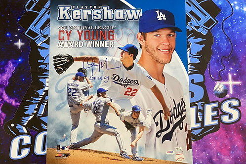 """Clayton Kershaw Signed """"2011 Cy Young"""" 16x20 Photo (PSA/DNA)"""