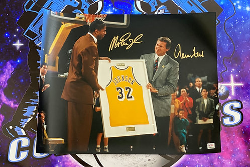 Magic Johnson & Jerry West Dual Signed 16x20 Photo (PSA/DNA)