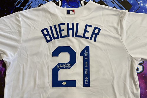"Walker Buehler Signed Authentic Majestic Jersey w/ ""First MLB WIN (Buehler Auth)"