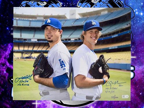 "Josh Beckett & Clayton Kershaw Dual Signed ""No-Hitter"" 11x14 #'d /100 (MLB Auth)"