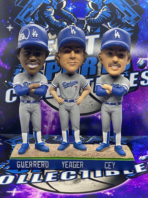 Pedro Guerrero, Steve Yeager & Ron Cey Signed Bobblehead (PSA/DNA)