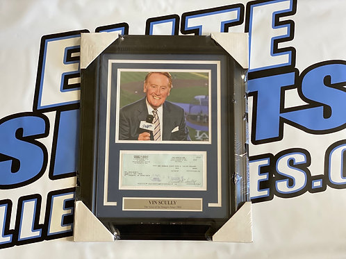 Vin Scully Signed & Framed Bank Check *VERY RARE FULL SIGNATURE*