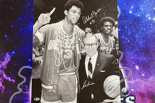 Kareem Abdul-Jabbar & John Wooden Dual Signed 16x20 Photo